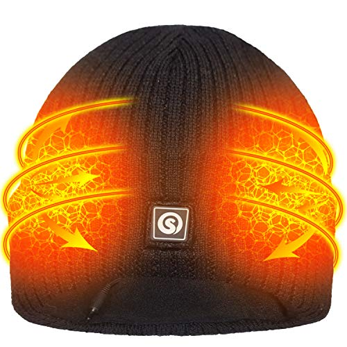 SVSPT Winter Knitting Warm Rechargeable Battery Heated Hat Slouchy Cap for Men Women (Black)