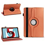 NAUC Tablet Hülle für Huawei MediaPad M5 8.4 Zoll Tasche Schutzhülle Cover Hülle 360° Drehbar Carbon-Design, Farben:Bronze