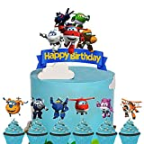 Set of Acrylic Super Wings Happy Birthday Cake Topper, Super Wings Cake Topper,Super Wings Themed Party Decoration Supplies, Boys Party Favor ( 7Pcs )