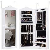 COSTWAY Armoire à Bijoux avec Miroir Blanc, Armoire de Rangement pour les Bijoux en MDF-Adapté au Salon, à la Chambre - 96x35x9,7cm