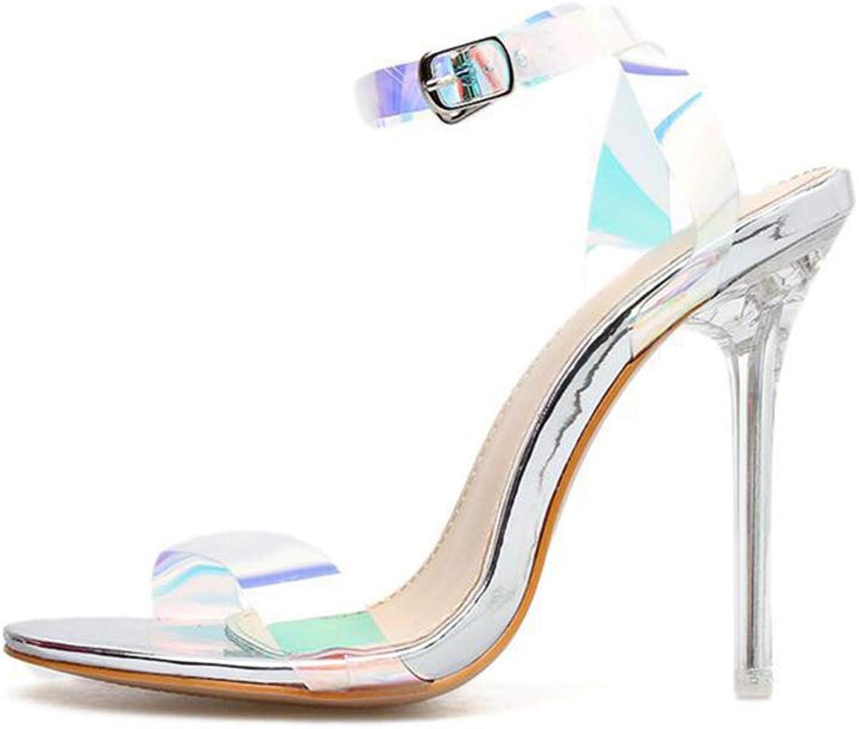 Women's High Heel Sandals 2019 Summer Stiletto PVC Peep Toe Buckle, Fashion Ladies Ultra High Heels Party Dress Court shoes,A,39