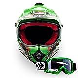 ARMOR Helmets AKC-49 Set Casco Moto-Cross, DOT certificato, Borsa per il trasporto, Verde, L (57-58cm)