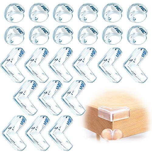 JEZOMONY Hoekbeschermer (12 L-vormig + 12 Balvormig), Baby Safety Proofing Edge Corner Protector, 3M Pre-Taped Corners, voor Bureau- en Meubelhoekafdekkingen, Houd Kindveilig (12 + 12 Pack)