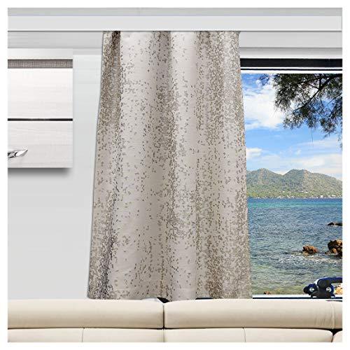 SeGaTeX home fashion Wohnmobil Caravan-Vorhang Luca beige Verdunklungsdeko Wohnwagengardine mit Reihband (Höhe & Breite nach Maß)