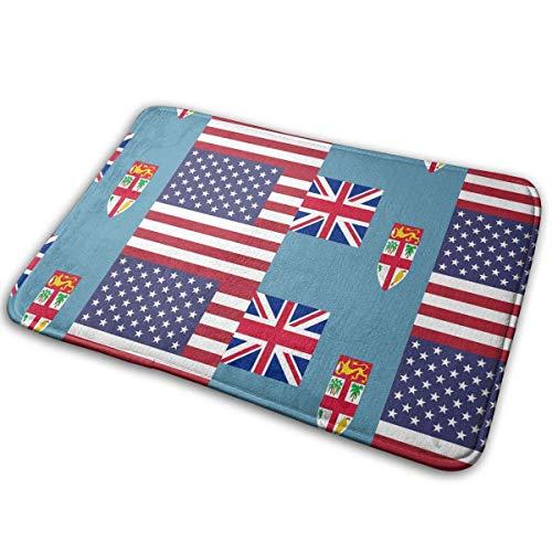 tyutrir Fidschi American Half Flag Willkommen Antiskid Fußmatte für Garage Patio High Traffic Areas Schuh Teppiche Teppich -8069