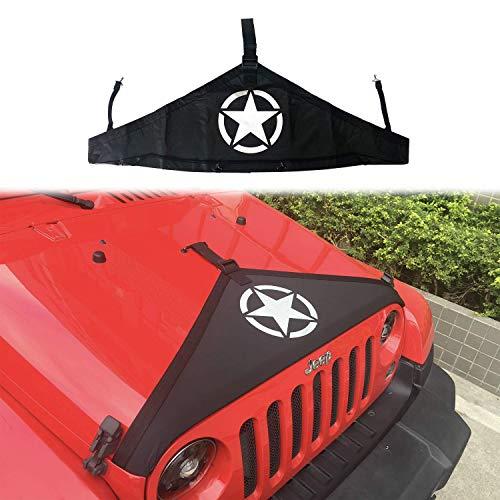 Pandaorv Front Hood Cover,T-Style Cover Bra Protector American Flag Hood Kit for J-eep Wrangler 2007-2017 2 & 4 Doors JK JKU Sahara, Rubicon[5Start]