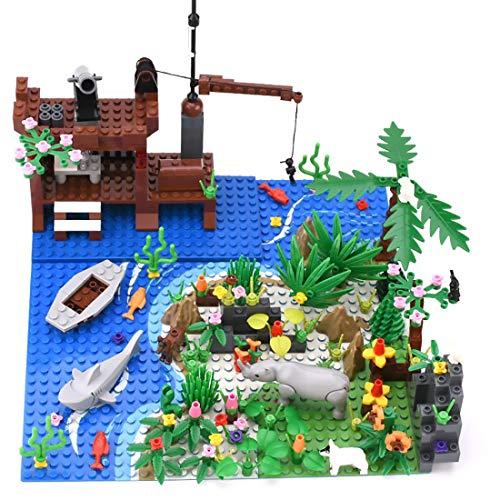 BGOOD Custom Dschungel Landschaft Bausteine Zubehör Set mit Bauplatten, 400Pcs Tropischer Regenwald Bausteinspielzeug mit Vegetations Bäumen und Tieren, Kompatibel mit Lego
