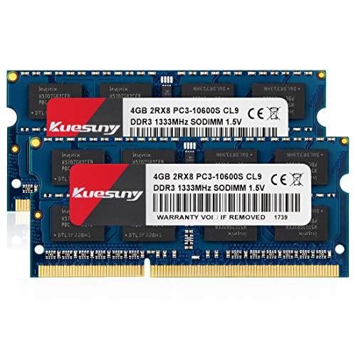 Kuesuny 8GB Kit (2x4GB) DDR3 1333MHz SODIMM PC3-10600 PC3-10
