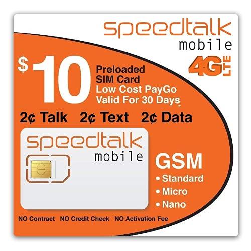 SpeedTalk Mobile $10 Preloaded SIM Card for 5G 4G LTE Smart Phones | 2¢ Talk Text Data | 30-Day Wireless Service Plan