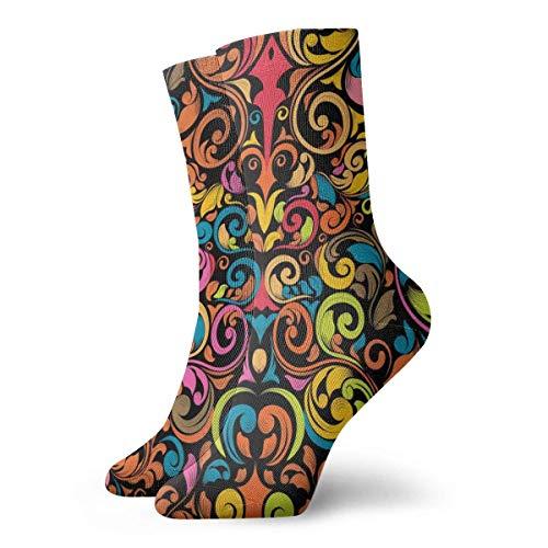 Kevin-Shop Farbige Kompressionsstrümpfe mit floraler Textur Fun Casual Crew Socken, dünne Socken, kurzer Knöchel für den Außenbereich, sportliche Feuchtigkeitstransport