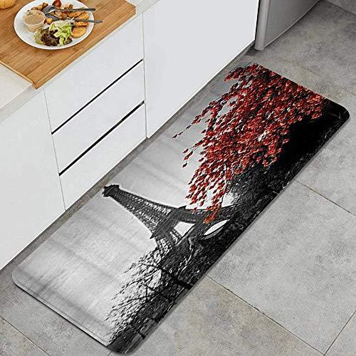 JOSENI Anti Fatiga Cocina Alfombra del Piso,Gris Paris Eiffel Tower Cityscape Red Flower,Antideslizante Acolchado Puerta Habitación Bañera Alfombra Almohadilla,120 x 45cm
