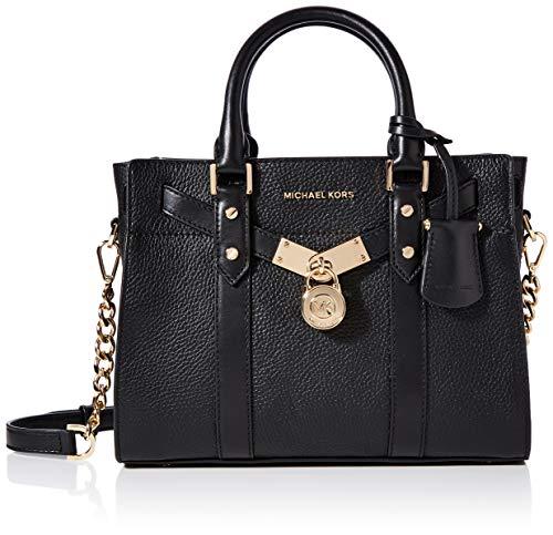 Small Black Leather Michael Kors Bag Gold Padlock Hardware Twin Handles Long, Detachable Shoulder Strap Zip Closure