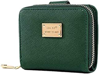 Green Leather Wallet For Women ID Card Holder Girls Short Coin Purse Clutches