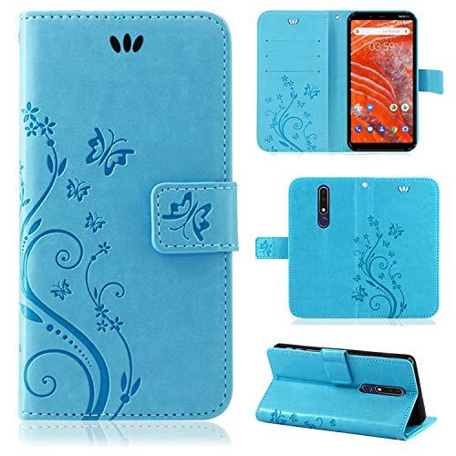 betterfon | Nokia 3.1 Plus Flower Case Handytasche Schutzhülle Blumen Klapptasche Handyhülle Handy Schale für Nokia 3.1 Plus Blau