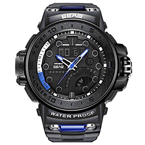HWCOO SBAO Orologi Orologio elettronico GMT doppio fuso orario orologio Grande quadrante calendario orologio al quarzo (Color : 2)
