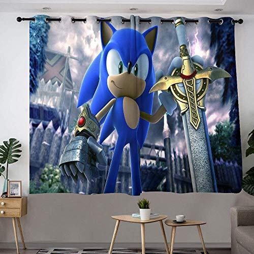 Hinyast Sonic The Hedgehog Art Cortinas para habitaciones de niños, cortinas decorativas, cortinas opacas para ventana, 42 x 54 cm