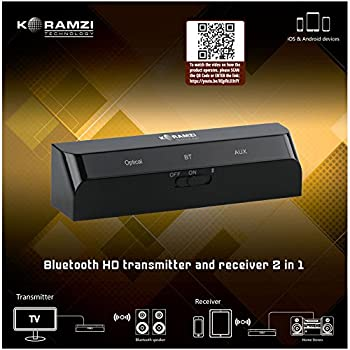 Koramzi BTR26 Bluetooth HD Transmitter and Receiver 2 in 1 with Low Latency A2DP Optical/Toslink in/Out for Hi-Fi Sound Quality AUX in/Out