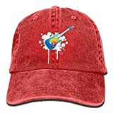 Hoswee Unisex Casquettes de Baseball/Chapeau Femme, Guitar Adult Cowboy Hat Baseball Cap Adjustable Athletic Personalised Custom Vintage Hat for Men and Women