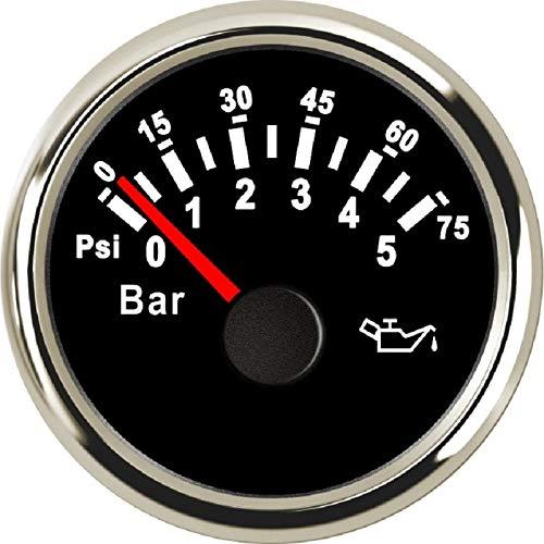 no-branded Kraftstoffanzeige 2inch 52mm Öldruckmessgeräte for Boote wasserdichte Ölpresse Meter 0-5Bar Kraftstoff-Druckanzeiger for Marine Auto 12V 24V CGFEUR (Color : BS 0 5 Bar, Size : Kostenlos)