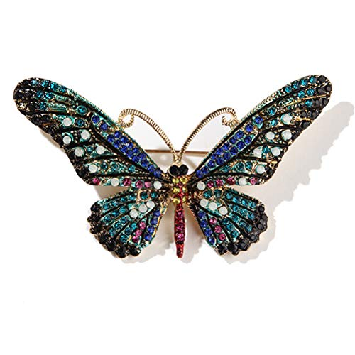 TBoxBo Broche de mariposa vintage pin multicolor Rhinestone Pin Crystal Pin Set lindo forma animal bufanda Clips broches mujeres niñas decoración para fiesta cumpleaños banquete boda