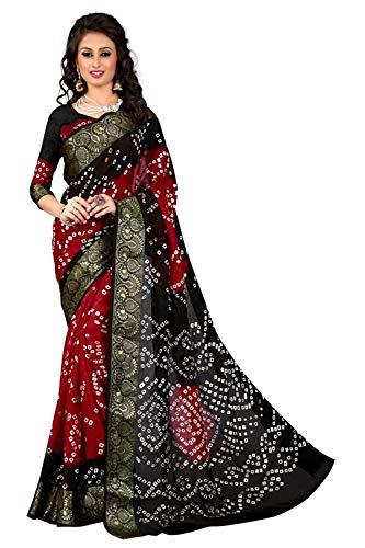 Calendar Women's Khadi Silk Sarees with Unstitched Blouse Piece (Black)