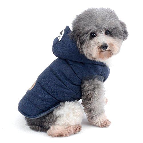 Ranphy Hunde-Winter-Fleece-Mantel für kaltes Wetter, Chihuahua-Hoodies für kleine und mittelgroße Hunde, Baumwolle, gepolstert, Größe S, Blau