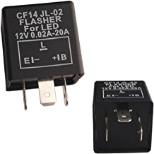 Dewhel 3-Pin CF-14 Electronic Flasher Relay Fix JL-02 12V 0.02A-20A For LED Hyper Fast Blink for Turn Signal Light Bulbs