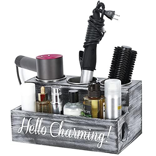 Emibele Caja de Almacenamiento de Madera, 30 x 18,5 x 15 cm Organizador de Secador Rizador Plancha de Pelo Maquillaje Champú Loción Cesta Decorativa para Peluquería Baño Tocador, Gris
