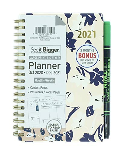 PlanAhead See IT Bigger Small, Pocket Size October 2020 – December 2021 Monthly/Weekly Planner Approx. 4' x 6' and Twin Fluorescent Pen (Flowers).