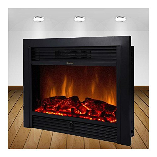 "28.5"" Embedded Fireplace Electric Insert Heater Glass View Log Flame Remote Home electric Fireplace inserts"