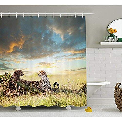 Yeuss Safari Duschvorhang, Zwei Geparden in Afrika Natur Gras gefährliche Tiere Jäger Regenwetter Bild,Stoff Badezimmer Dekor Set mit Haken,Multicolor