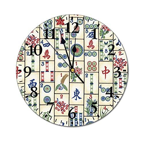 GKAOSPLSR Reloj de pared redondo silencioso de 11.8 pulgadas, funciona con pilas, para decoración de hogar, oficina, escuela, cocina, dormitorio, sala de estar, azulejos Mahjong