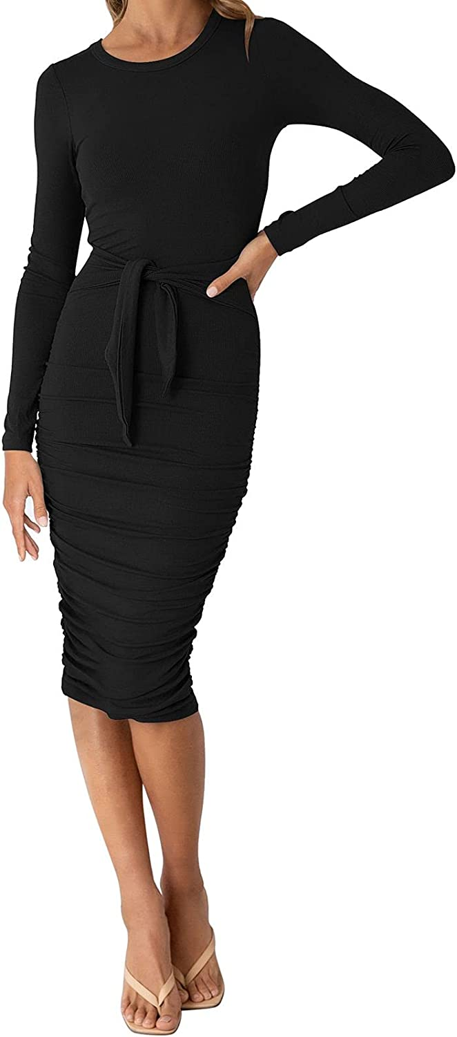 LaSuiveur Women's Crewneck Long Sleeve Spandex Stretchy Fitted Bodycon Club Dress
