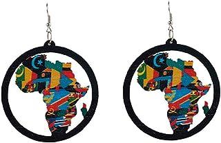 1 Paio di Legno Classico Africa Map Orecchini di Legno Mappa Pendente degli Orecchini per Le Donne Ragazze Gioielli Regalo