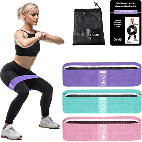 Gymbee 3 Fabric Resistance Bands for Legs and Butt, Loop Exercise Bands, Booty Workout Bands for Women, Glute Bands, Non Slip Squat Bands with 3 Resistant Levels, Video Included