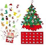 Queta Calendario de Adviento de Navidad de Fieltro para Cuenta Regresiva de Navidad, Calendario Cologante Móvil de Pared con Accesorios de Fieltro y 24 Bolsas, DIY Decoracion Navideña (Tipo-2)