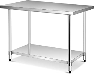 Giantex 48 x 30 Inches NSF Stainless Steel Food Prep Table, Heavy Duty Commercial Kitchen Metal Table with Adjustable Lowe...