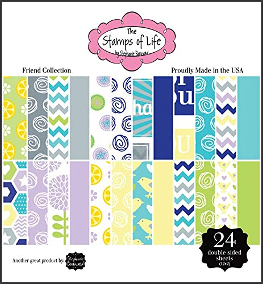 Friend Patterned Paper Pad for Card-Making and Scrapbooking by The Stamps of Life - 24 Sheets 6