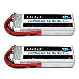 HRB 2PCS 4S 14.8V 2600mAh 35C Lipo Batterie avec Deans T Plug pour RC Hélicoptère Avion Voiture Bateau Camion
