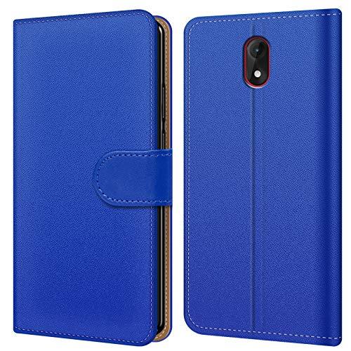 Conie BW44112 Basic Wallet Kompatibel mit Wiko Lenny 5, Booklet PU Leder Hülle Tasche mit Kartenfächer & Aufstellfunktion für Lenny 5 Case Blau