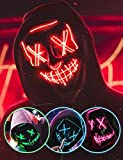 AnanBros Scary LED Halloween Mask, Masquerade Cosplay Light Up Face Mask for Men Women Kids Red