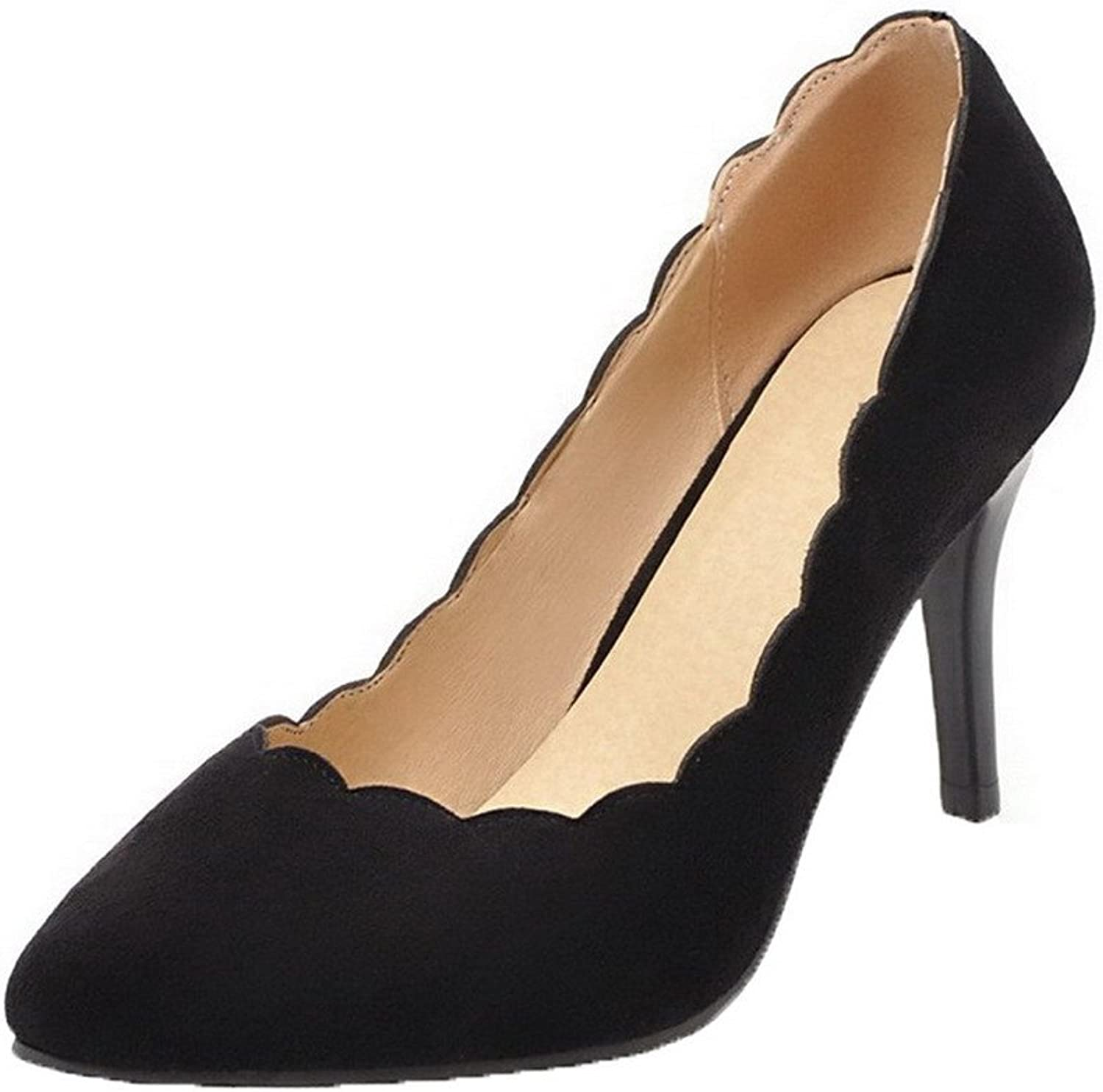 AmoonyFashion Women's Pointed-Toe High-Heels Frosted Solid Pull-On Court shoes