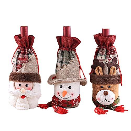 Funda de botella de vino de Navidad, 3 bolsas de regalo de diferentes patrones para decoración de vacaciones, hogar, fiesta, mesa de cena