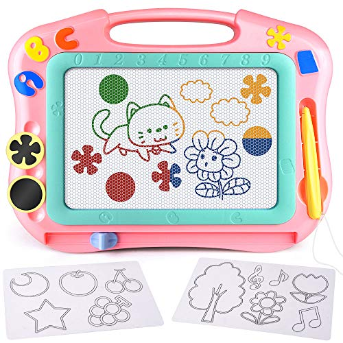 FLY2SKY Magnetic Drawing Board Kids Magna Doodle Board Travel Size Toddler Toys Sketch Writing Colorful Erasable Sketching Table Pad Holiday Birthday Gifts Girl Boy Educational Learning Toy