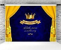 新しい250x180cmのベビーシャワーの写真の背景青いカーテンの王冠の背景写真ブースの小道具ビニールのベビーパーティーのバナー