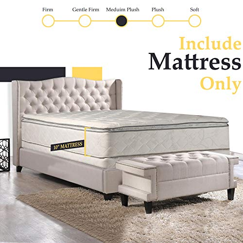 Mattress Solution, 10-Inch medium plush Pillowtop Innerspring Mattress, Good For The Back, No Assembly Required, Queen Size 79