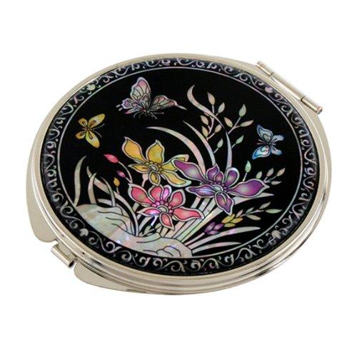 Miroir compact double grossissant en nacre pour maquillage, maquillage ou cosmétique, miroir de sac ou sac avec motif orchidée jaune et violet