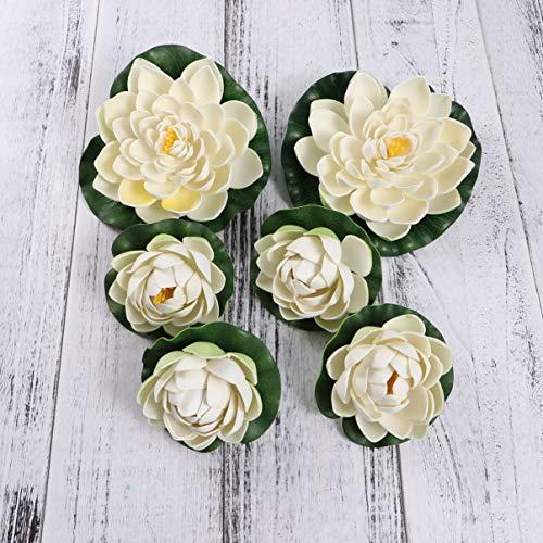 VOSAREA - 6 ninfee artificiali galleggianti in schiuma artificiale, colore bianco, fiori di loto, piante da laghetto, decorazione per giardino, terrazza, acquario, piscina, festa di nozze