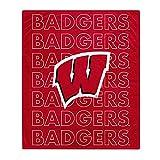 Pegasus Sports NCAA Echo Team Wordmark Plush Blanket- Wisconsin Badgers Team Color 60x70