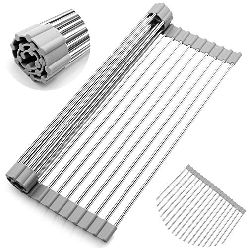 TopCraft Roll-Up Dish Drying Rack, 17' x 13.2' Multipurpose Foldable Kitchen Sink Rack Mat Stainless Steel Dry Rack Dish Drainer Heat Resistant Mat